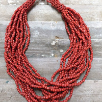 Layers of Red Brick Beads Necklace