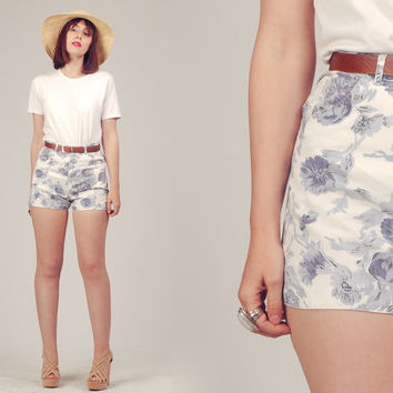 70s Floral Shorts / Printed High Waisted Shorts / White and Blue Shorts