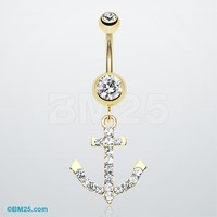 Golden Anchor Gem Sparkle Belly Button Ring