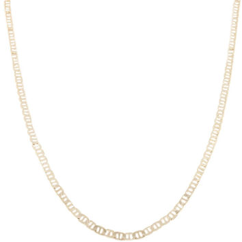 2 Pieces of Goldtone 4mm 24 Inch Flat Mariner Chain Necklace