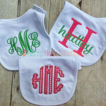 Girl Bib set, Pink - Applique and Monogram baby gift