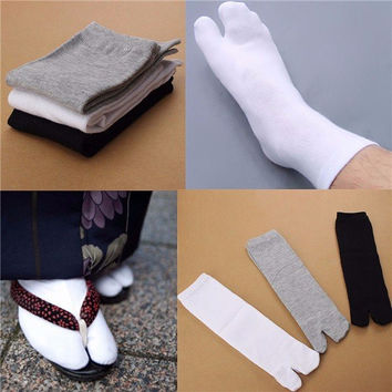 Men Women Split Toe Japanese Kimono Geta Socks Clog Flip Flop Cotton Socks