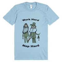 Work Hard Nap Hard1-Unisex Light Blue T-Shirt