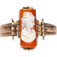 Classy Antique Victorian Carnelian Cameo Ring by Bellman Jewelers