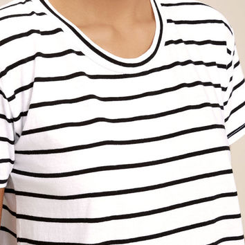 Amuse Society Tanner Black and White Striped Tee