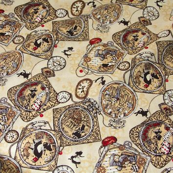 50cm*110cm Japanese Kokka Oxford Cotton Fabric Patchwork Fabric Alice in Wonderland Antique Clock B