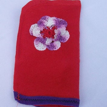 Red Eyeglasses Case, Sunglasses Pouch, Purple Variegated Flower with Red Center, Purple Trim