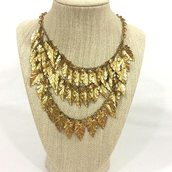 Multi Strand Gold Fringe or Bib Necklace, Realistic Leaves, Charm Necklace, Statement Woodland Jewelry, 1940s Vintage Art Deco Jewelry