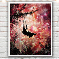 Wild Hearts (Can't Be Broken) - fine art print, mixed media painting, silhouette illustration, girl on swing, pink and red wall art