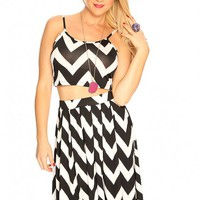 Black White Chevron Print Cute Sexy 2 Piece