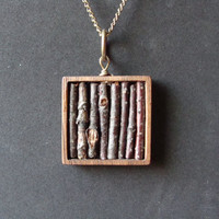 Real Twig Necklace in Genuine Wooden Square Bezel by aptoArt