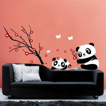 Two Lovely Baby Panda Wall Sticker Home Decoration-Panda and Cherry Blossom Tree
