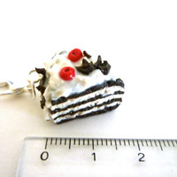 Black forest cake in Polymer clay, Miniature Food iPhone jack plug,Miniature Food charm