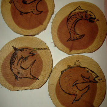 Set of 4 Wood Coasters with Swordfish Catfish Bass and Trout Wood Burned Art Rustic Cabin Hunting Fathers Day Vacation Home