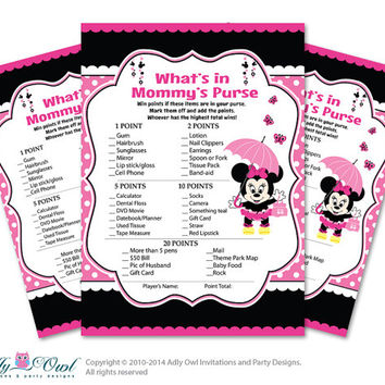 Girl Minnie Mouse What is in Mommy's Purse, guess purse Game Printable Card for Baby Mouse  Shower DIY Black Pink  Polka oz9bs13