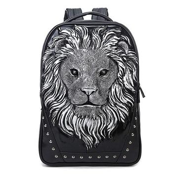 Cool Backpack school GOOG.YU leather backpacks men 3D stereo lion head tide cool Unique relief laptop backpack Retractable handle animal duffle bag AT_52_3