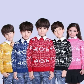 Winter New Kids Cartoon Christmas Deer Thicken Sweater Children New Year Clothing Boys Girls Cotton Pullover Baby Costumes