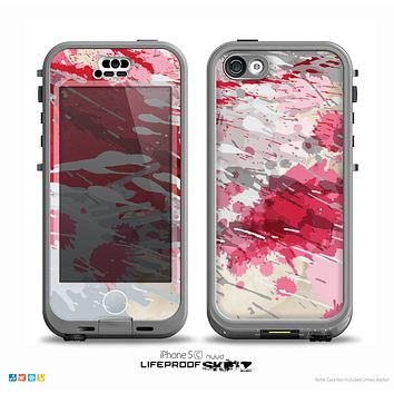 The Abstract Red, Pink and White Paint Splatter Skin for the iPhone 5c nüüd LifeProof Case