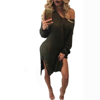 Fashion Women Sexy V-Neck Long Sleeve Knit Dress Sweater Knitting Wool Loose Casual Sweaters And Pullovers Dresses#LSN
