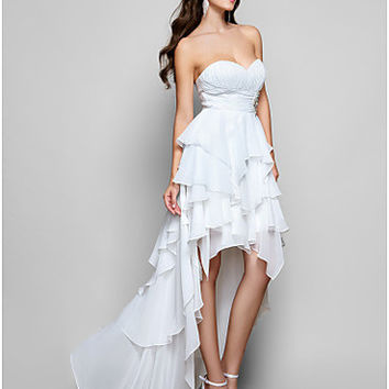 A-line Sweetheart Asymmetrical Chiffon Evening/Prom Dress - OuterInner