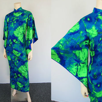 Vintage 60s Blue Hawaiian Caftan Maxi Dress Kimono Angel Sleeve Tiki Batik Wedding Floral Boho Hippie Luau