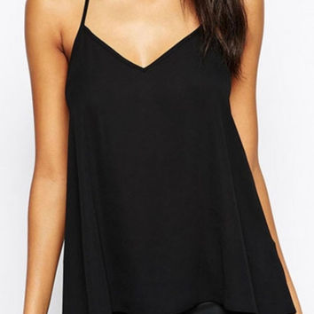 Black Halter  StrappyCut-out Back Chiffon Top