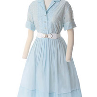 60's Blue Embroidered Eyelet Full Skirt Shirtwaist Dress XL