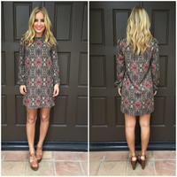 Depp Paisley Shift Dress