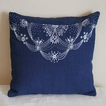 Navy BLue Lace Design Pillow by MaDahms on Etsy