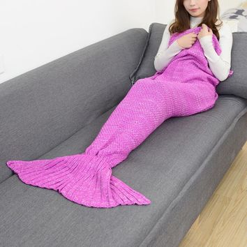 CAMMITEVER Mermaid Tail Blanket Yarn Knitted Handmade Crochet Mermaid Blankets Kids Throw Bed Wrap Super Soft Sleeping Bed