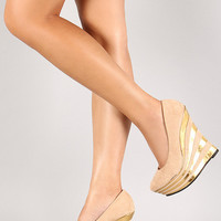 Nude Beige And Gold High Heel Shoes Wedges With Metallic Gold Stripes (Small/Indie Brands)