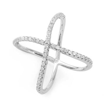 Silver Wavy Crystal X Ring