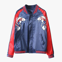 Embroidered Koi Bomber Jacket