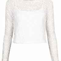 Flower Embroidered Mesh Top - White
