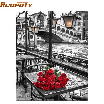 RUOPOTY Picture DIY Painting By Numbers Romantic Street Modern Wall Art Canvas Painting Hand Painted Unique Gift For Home Decor