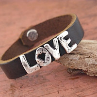 Love Bracelet - Big Love Bracelet - Inspirational Jewelry - Leather Bracelet - Handmade Jewelry-Cuff Bracelet