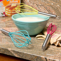 Evelots Silicone Whisks Cooking Baking Mixing Tools Assorted Colors - 3 Pack