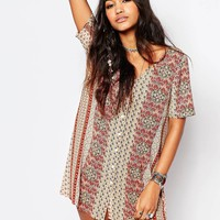 Glamorous Button Front Tea Dress In Paisley Festival Print