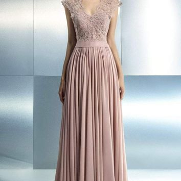 Beside Couture - CH1656 Ornate V-Neck Pleated Gown