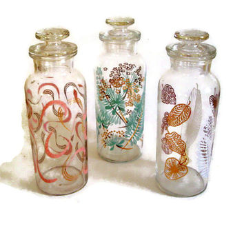 Retro 60's Glass Tall Apothecary Vanity Jars Set of 3 Different Designs