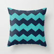 chevron - aqua and navy Throw Pillow by her art