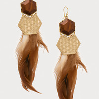 bebe Womens Feather Statement Earrings Brown Gold