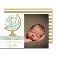 Hello World Blue and Gold Baby Boy Birth Announcement Digital Printable Card