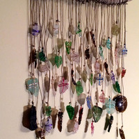 Sun Catcher Sea Glass Lake Erie Beach Glass Driftwood Mobile Beach Decor Seaglass Art Eco Friendly Recycled Upcycled