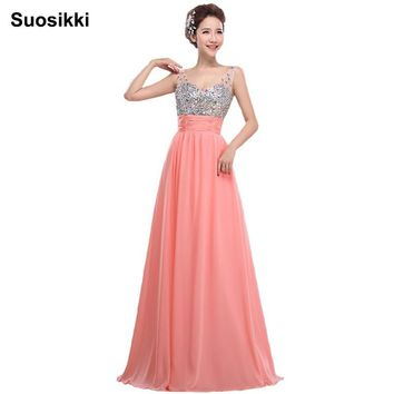 Suosikki Chiffon long evening dress 2017 new arrival crystal shining formal prom party gown dresses vestido de noiva