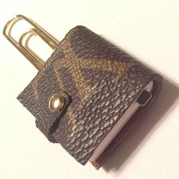 Louis Vuitton canvas upcycled mini agenda / planner paper clips,
