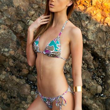 Turkesa Sequin Tie Bikini Top