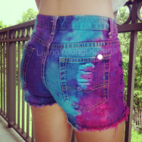 Tie Dye Distressed High Waist Shorts Hipster
