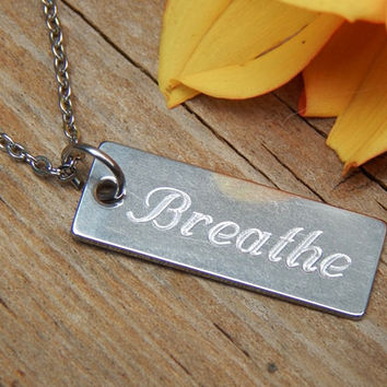 Yoga Necklace engraved with Breathe