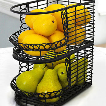 Mesa French Loop Collection Stacking Baskets Fruit Bowl | zulily